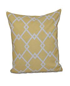 16 Inch Yellow Decorative Trellis Print Throw Pillow