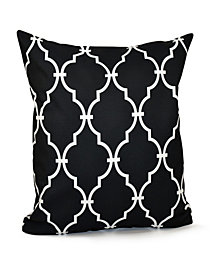 16 Inch Black Decorative Trellis Print Throw Pillow