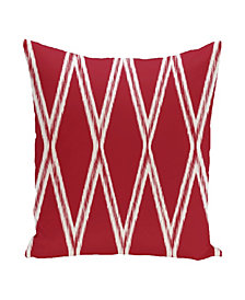 16 Inch Red Decorative Diamond Print Throw Pillow