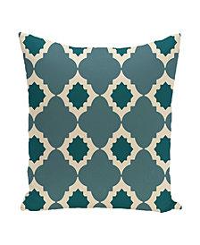 16 Inch Aqua Decorative Trellis Print Throw Pillow