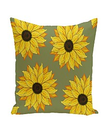 16 Inch Mid Green Decorative Floral Throw Pillow