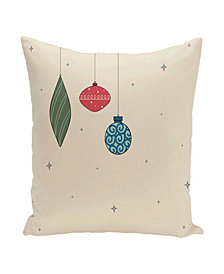 16 Inch Off White and Coral Decorative Christmas Throw Pillow