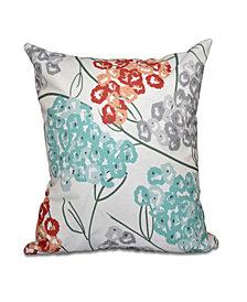 Hydrangeas 16 Inch Coral and Aqua Decorative Floral Throw Pillow
