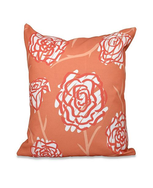 E by Design Spring Floral 2 16 Inch Orange Decorative Floral Throw Pillow