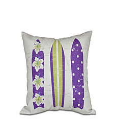 Triple Surf 16 Inch Purple and Bright Green Decorative Nautical Throw Pillow