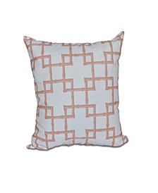 Bamboo 2 16 Inch White and Coral Decorative Abstract Throw Pillow