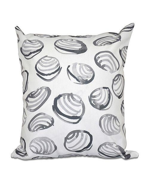 E by Design Clams 16 Inch Gray Decorative Coastal Throw Pillow