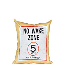 No Wake 16 Inch Yellow Decorative Word Print Throw Pillow