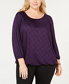 MICHAEL Michael Kors Plus Size Printed Bubble-Hem Top
