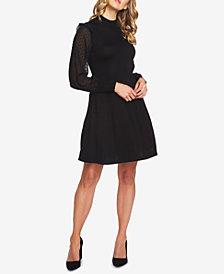 CeCe Cotton Swiss-Dot Fit & Flare Dress