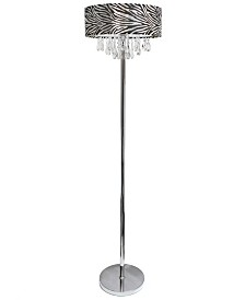 Elegant Designs Trendy Cascading Crystal and Chrome Floor Lamp with Drum Shade