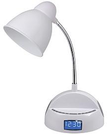 LighTunes Bluetooth Gooseneck Speaker Lamp with Alarm Clock, FM Radio, and USB Charging Port
