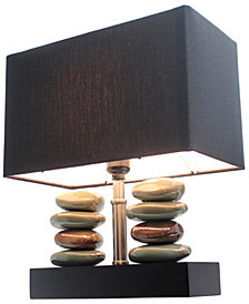 Elegant Designs Rectangular Dual Stacked Stone Ceramic Table Lamp with Black Shade