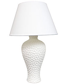 Simple Designs Textured Stucco Curvy Ceramic Table Lamp