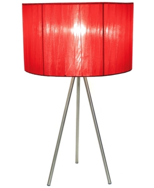 All The Rages Simple Designs Brushed Nickel Tripod Table Lamp With Pleated Silk Sheer Shade In Red