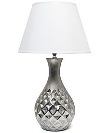 Elegant Designs Juliet Ceramic Table Lamp with Metallic Silver Base and White Fabric Shade