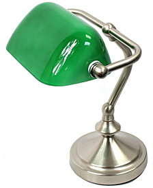 Simple Designs Traditional Mini Banker's Lamp with Glass Shade