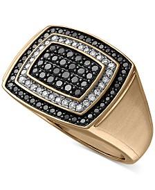 Men's Black & White Diamond Ring (1 ct. t.w.) in 10k Gold