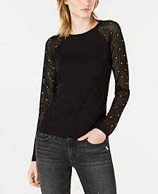 Bar III Embellished Fishnet-Sleeve Top, Created for Macy's