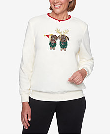 Alfred Dunner Petite Puppy-Appliqué Sweater