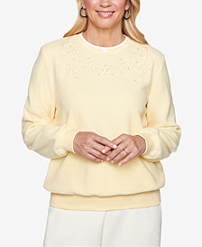Alfred Dunner Petite Embroidered Anti-Pill Sweater