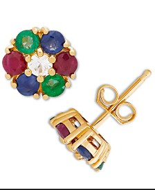 Multi-Gemstone Flower Stud Earrings (1-1/5 ct. t.w.) in 14k Gold