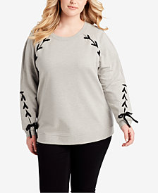 Jessica Simpson Trendy Plus Size Lace-Up Sweatshirt