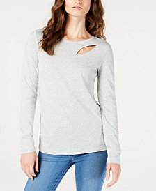 I.N.C. Long-Sleeve Cutout T-Shirt, Created for Macy's