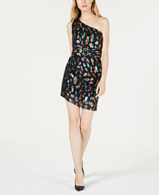 GUESS Inari One-Shoulder Cheetah-Print Dress