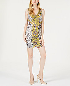 GUESS Rae Python-Print Bodycon Dress