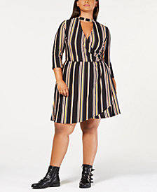 Planet Gold Trendy Plus Size Faux-Wrap Dress