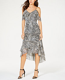 I.N.C. Printed Cold-Shoulder Flounce Dress, Created for Macy's