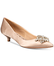 Badgley Mischka Vail Evening Pointed-Toe Kitten-Heel Pumps