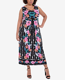 NY Collection Plus Size Twist-Waist Maxi Dress