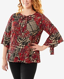 d84e4b57d25 NY Collection Plus Size Bell-Sleeve Top
