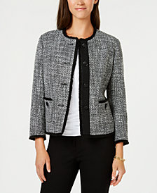 Anne Klein Collarless Fringed Tweed Blazer, Created for Macy's