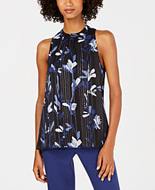 Nine West Printed Pleated Top