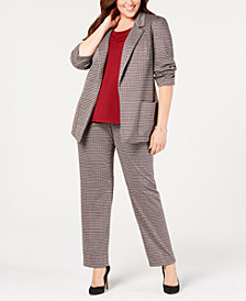 Nine West Plus Size Blazer, Draped Shell & Printed Pants