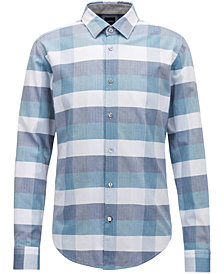 BOSS Men's Slim-Fit Check Cotton Shirt