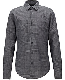 BOSS Men's Slim-Fit Houndstooth Cotton Shirt
