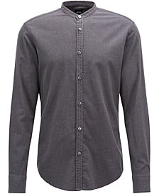 BOSS Men's Slim-Fit Flannel Cotton Shirt