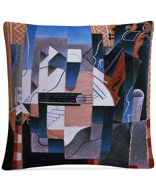 "Baldwin Juan Gris Still Life With Violin and Guitar 16"" x 16"" Decorative Throw Pillow"