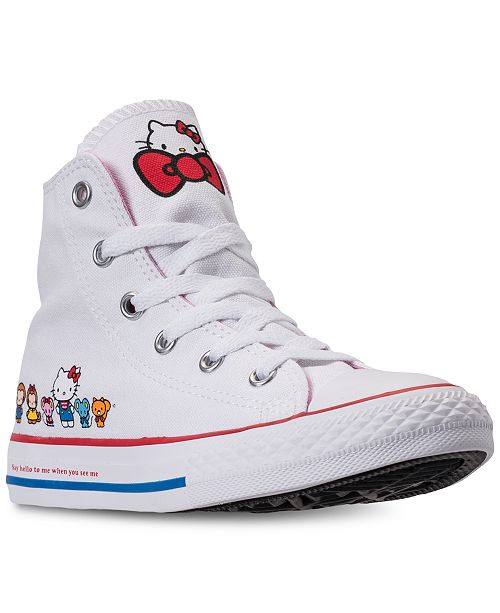 ... Converse Little Girls  Chuck Taylor High Top Hello Kitty Casual  Sneakers from Finish ... 4d34cf20b39f8