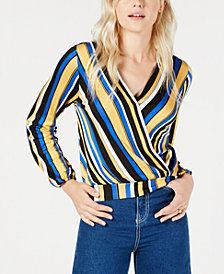 Crave Fame Juniors' Striped Banded-Hem Surplice Blouse
