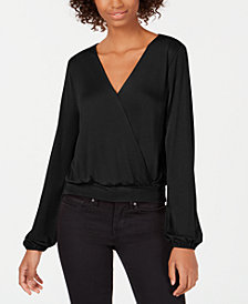 Crave Fame Juniors' Banded-Hem Surplice Blouse