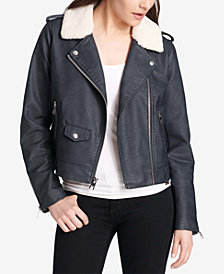 Levi's® Cropped Faux-Fur-Collar Moto Jacket