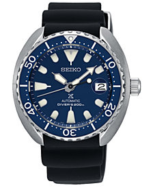 LIMITED EDITION Seiko Men's Automatic Prospex Black Silicone Strap Watch 42.3mm, Created for Macy's - A Limited Edition