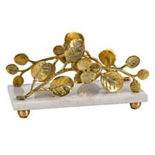 Badash Crystal Petals Gold Brass Napkin Holder with Marble Base