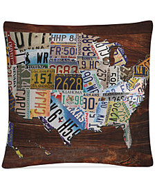 "Masters Fine Art USA License Plate Map on Wood 16"" x 16"" Decorative Throw Pillow"