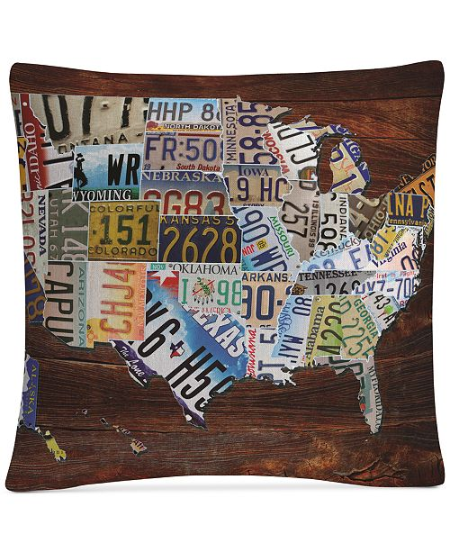"Baldwin Masters Fine Art USA License Plate Map on Wood 16"" x 16"" Decorative Throw Pillow"